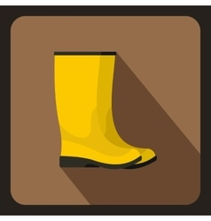 Yellow rubber boots icon flat style vector image