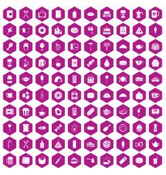 100 cafe icons hexagon violet vector