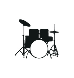 Silhouette the drum set vector