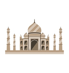 Taj mahal flat style ancient palace in india vector