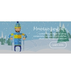 Ski web banner person skiing flat style winter vector