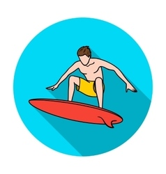 Surfer in action icon in flat style isolated on vector