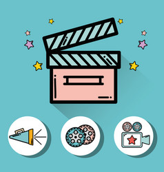 Clapper board with video filmstrips video camera vector