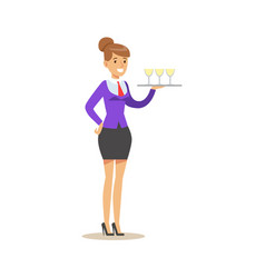 cheerful waitress holding a tray with champagne vector image