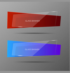 Glass banners with abstract shape vector