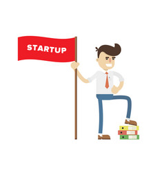 Startup business project icon with businessman vector