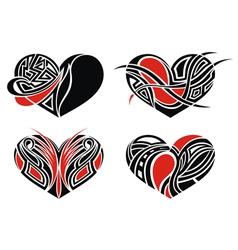 Set of tattoo hearts vector image
