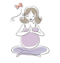 Pregnant yoga vector