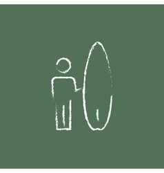 Man with a surfboard icon drawn in chalk vector