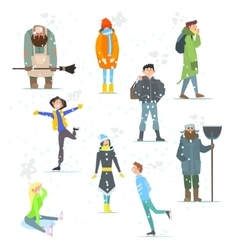 People in winter winter activities vector