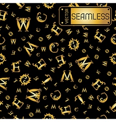 Seamless gold vintage pattern with curved letters vector