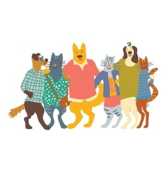 Cats and dogs pets group friends hugs isolate on vector