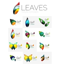 Leaf logo set vector