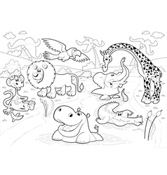 African animals in the jungle in black and white vector image