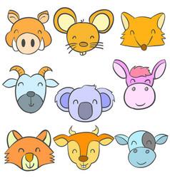 Animal head cute funny doodles vector