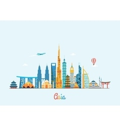 Asia skyline Travel and tourism background vector image vector image