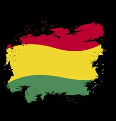 Bolivian flag grunge style on black background vector image