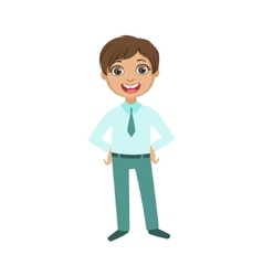 Boy in blue trousers and shirt with tie happy vector