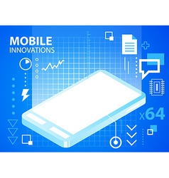 bright mobile phone on blue background for b vector image vector image