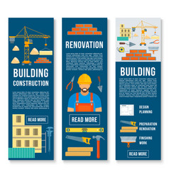 building construction work tools banners vector image vector image