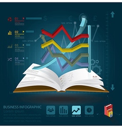 Business infographic with open book learning style vector