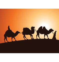 camels and bedouins in desert vector image vector image
