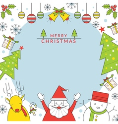 Christmas Characters Frame Line Style vector image vector image