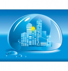 city in a drop of water vector image vector image