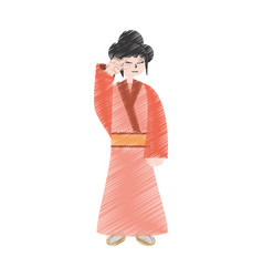 Drawing character japanese woman attire costume vector