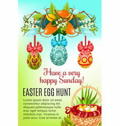 Easter egg hunt basket holiday poster design vector