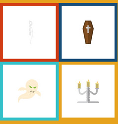 flat icon halloween set of ghost candlestick vector image vector image