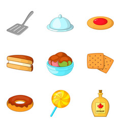 fritter icons set cartoon style vector image vector image
