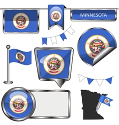 Glossy icons with minnesotan flag vector