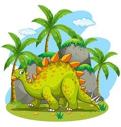 Green dinosaur walking in the park vector