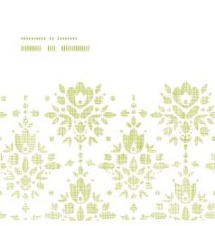 Green textile damask flower horizontal frame vector