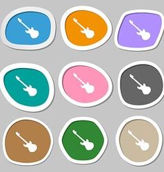 Guitar icon symbols multicolored paper stickers vector