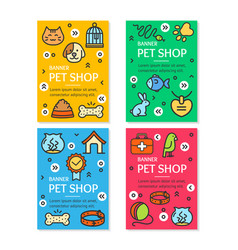 pet shop flyer banner placard set vector image
