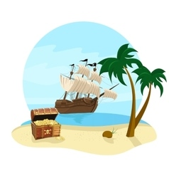 pirate ship coconut tree and treasure chest vector image