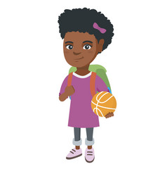 schoolgirl with backpack holding a basketball vector image