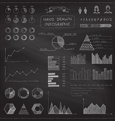Set of chalk business infographic elements vector
