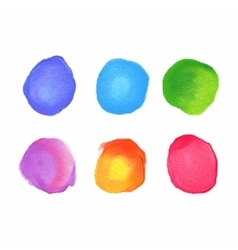 set of rainbow watercolor circles stains vector image vector image