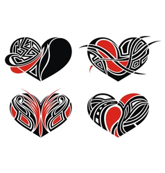 Set of tattoo hearts vector image
