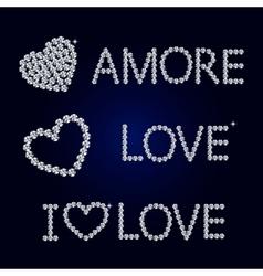 shiny diamond heart Valentines Day Card vector image vector image