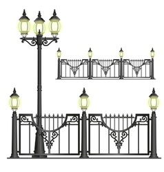 Shod street fence with lanterns - isolated vector