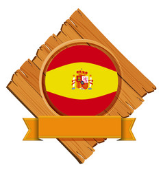 Spain flag on wooden board vector