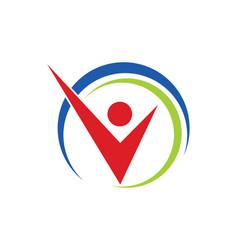 Success business man happy logo vector