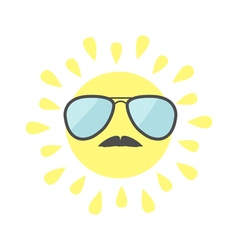 Sun shining icon sun face with sunglassess and vector
