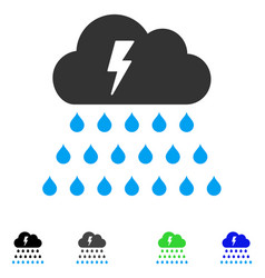 Thunderstorm rain cloud flat icon vector