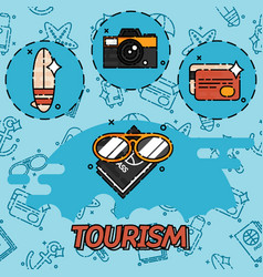 Tourism flat concept icons vector