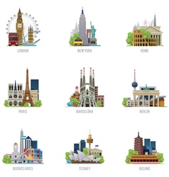 Travel destinations icon set vector
